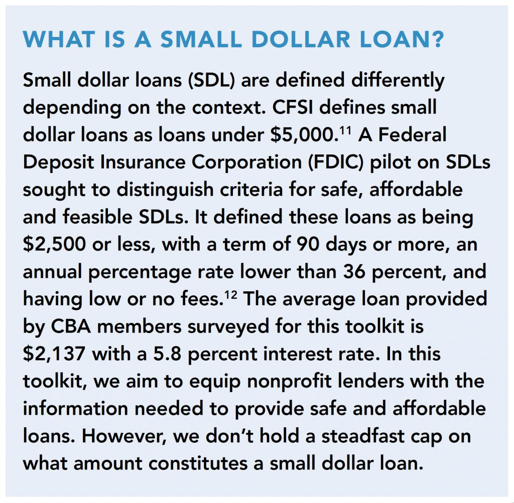 What is a small dollar loan